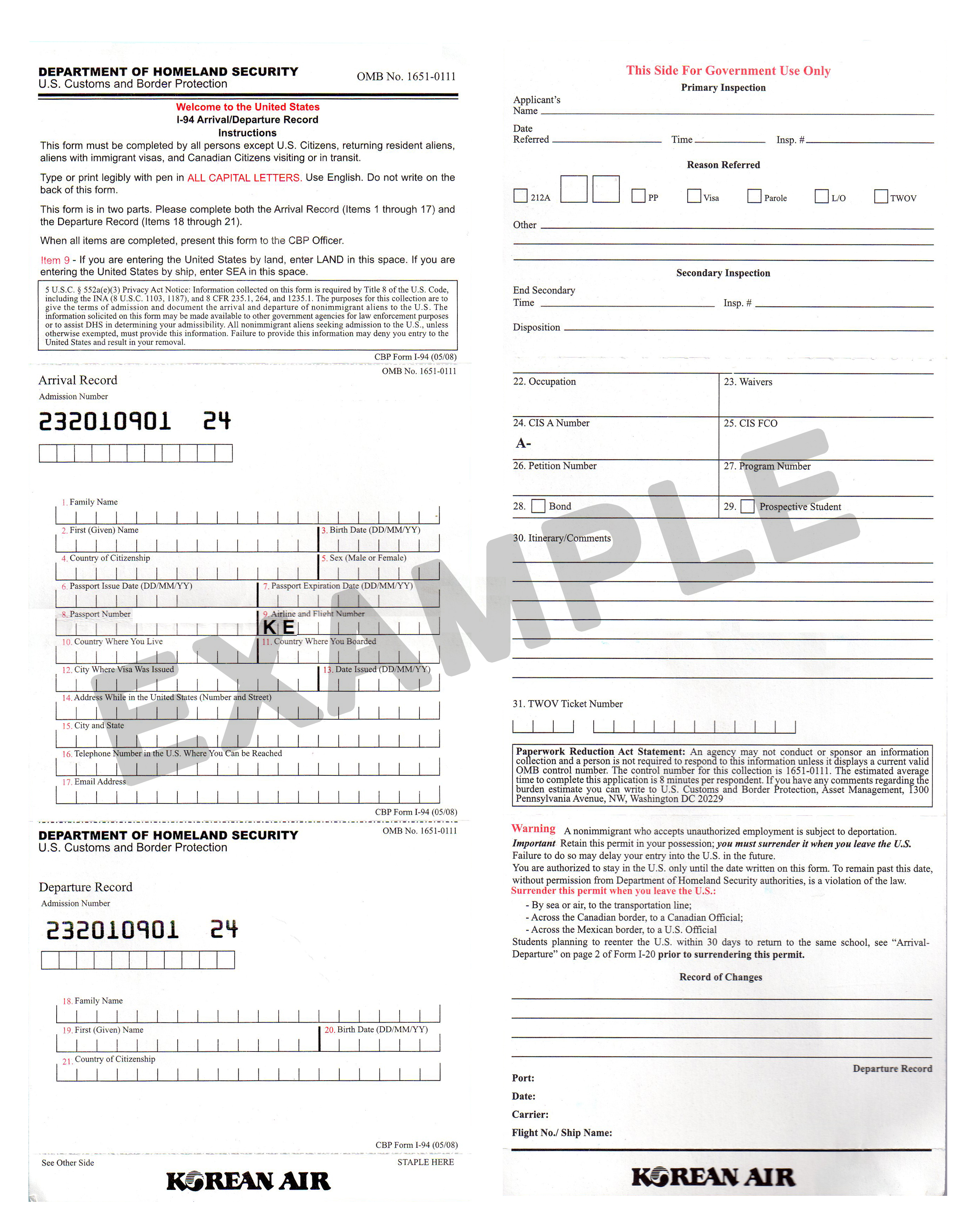 Form I94 Online Application  US Travel By Land